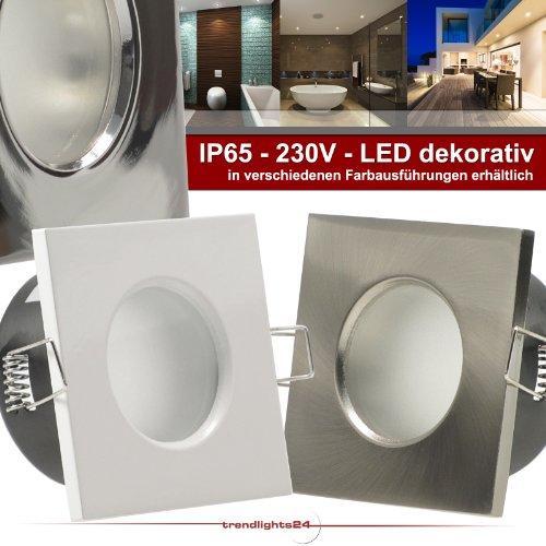 5er Set (1-5er Sets) Decken Einbaustrahler Bad AQUA BASE IP65 quadratisch eckig 230V EDELSTAHL OPTIK gebürstet; Deko SMD LED 1,2 Watt (dekorativ); Warm-Weiß; Einbauleuchte für Feuchtraum + außen