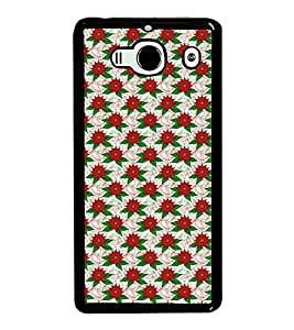 Fuson Premium 2D Back Case Cover Red floral pattern With Brown Background Degined For Xiaomi Redmi 2S::Xiaomi Redmi 2::Xiaomi Redmi 2 Prime