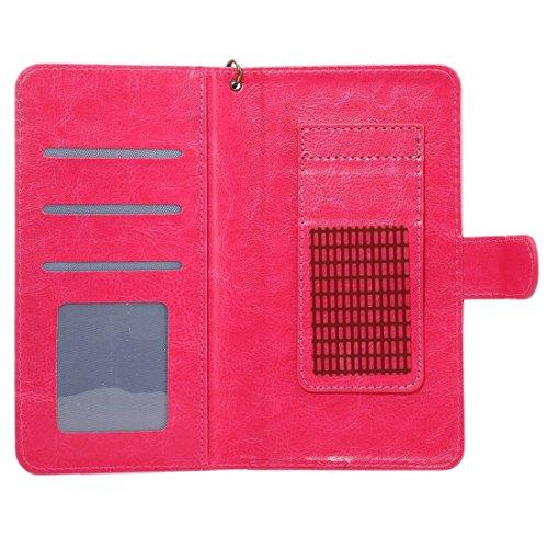 A3 Universal Da Vinci Textur Horizontale Flip Ledertasche mit Crad Slots & Brieftasche & Foto Frame & Magnetic Gürtelschnalle & 18cm Lanyard für Samsung Galaxy S7 & S6 Edge & S6, iPhone 7 & 6s & 6, Hu Magenta