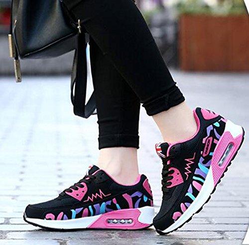 Wealsex Baskets Chaussures Jogging Course Gym Fitness Sport Lacet Sneakers Style Running Multicolore Respirante Femme noir et rose pu cuir