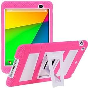 i-Blason Google New Nexus 7 FHD 2nd Generation ArmorBox 2 Layer Convertible [Hybrid] Protection KickStand Case for Kids Friendly (Pink/White, Nexus 7 2nd Generation)