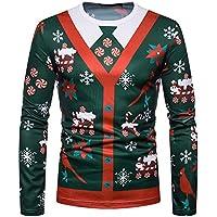 Ugly Christmas Sweater Herren UFODB Männer Pullover Men's Sweatshirts Slim Fit Long-Sleeved Rundhals Sweatshirt Weihnachtspulli Oberteile Casual Winterpullover