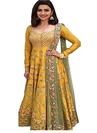 Surat4Fashion Women's Silk Yellow Anarkali Salwar suit (Suit110_Yellow_Free Size)