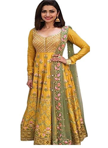 Surat4Fashion Women\'s Silk Yellow Anarkali Salwar suit (Suit110_Yellow_Free Size)