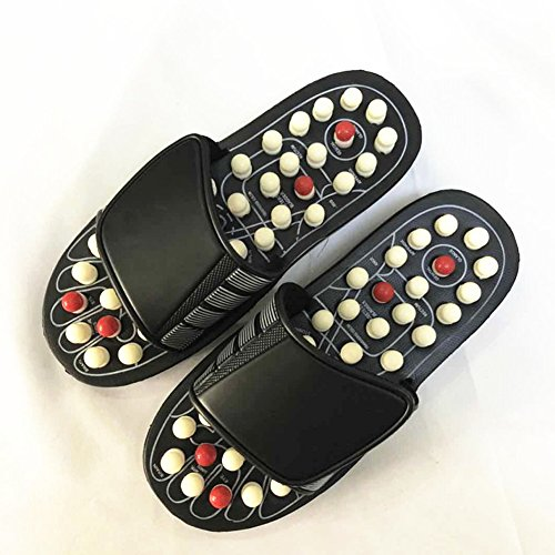 Hinmay EX Massage Slipper Schuhe drehbar Accupressure Fuß Hausschuhe für Männer Frauen, Schwarz/Weiß, 44-45