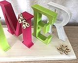 Gönndirwasgutes Schriftzug Sommer aus Holz pink weiß grün 30 cm lang Handarbeit Dekoration Dekoaufsteller Holzschriftzug Dekobuchstaben Aufsteller Deko - 4
