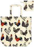 649ROO --- Rooster -- Hähne -- Hahn --- PVC -- --- praktische Einkaufstasche -- Beutel --- verstaubar in einem niedlichen Anhänger --- Tasche --- Shopper --- 36 x 35 x 12cm