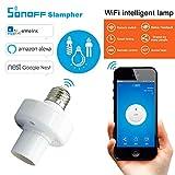 KOBWA Smart Wifi - Casquillo E27 con adaptador de bombilla LED para lámpara inalámbrica, funciona con Alexa y Google Home Assistant, control remoto de tus accesorios desde cualquier lugar