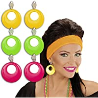 Pendientes de neón Bisutería creolé verde joyas ochenteras Aros de moda clips orejas años 90 Outfit ropa fiesta