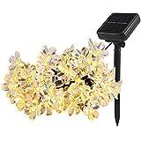 Solar Lichterkette Außen, TryLight 7M 50 Led Blumen Lichterkette Warmweiß lichterkette Aussen für Garten, Weihnachten, Party Balkon deko