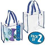 mDesign Set ad 2 Borsa da palestra per attrezzatura sportiva, indumenti e simili – Borsa trasparente con due manici – Resistente all'acqua – trasparente e blu