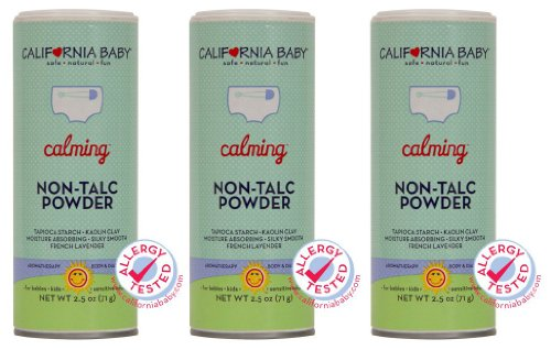 California Baby Non-Talc Powder, Canister - Calming, 2.5 oz (Pack of 3) by California Baby (English Manual)