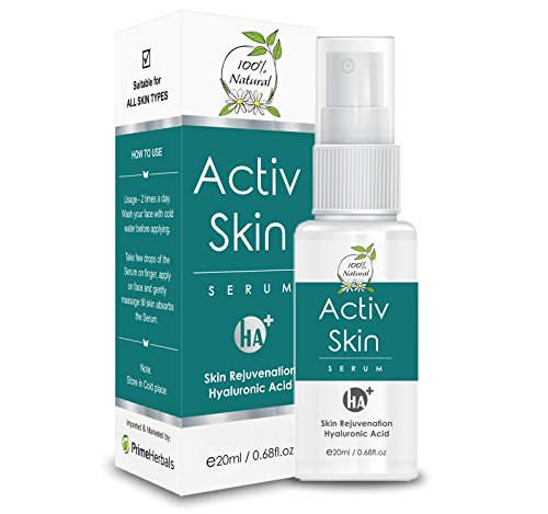 Active Skin Serum - Hyaluronic Acid for Anti Aging / Wrinkles, Acne Scar, Dark Spots removal, skin hydration, skin toner, skin whitening, natural organic safe