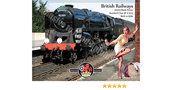 Pin Up Girl British Rail Steam Train Large Metal Tin Sign Black Prince 92203