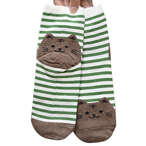 Cwemimifa Füsslinge Ballerina socken, 3D Tiere gestreifte Cartoon Socken Frauen Katzen Fußabdrücke Baumwollsocken Boden GN, Grün - Nicht Elastische Komfortbund