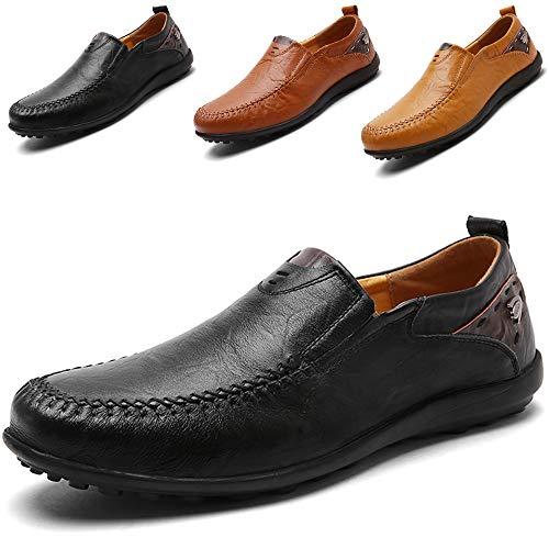 LSGEGO Herren Mokkasins Slip on Casual Männer Loafers Frühling und Herbst Herren Mokassins Schuhe aus echtem Leder Herren (45, Black-1) (Casual Slip On Herren)