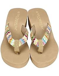sandalias mujer plataforma, Sannysis Sandalias bohemias colorful (EU 38, caqui)