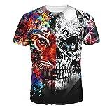 RETUROM -Camisetas Camiseta de los Hombres, Camiseta de la Manga de la Camiseta de la Camiseta de la Manga de la Camiseta del Tigre del cráneo del Tigre (L)