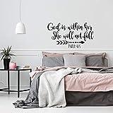 WSLIUXU Psalm 46: 5 Vinyl Wandtattoo Gott in ihrem Herzen Sie wird nicht entartet Bibel Schrift...