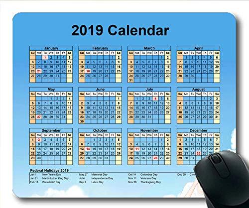 2019 Kalender-Mauspad-Matte, Kalendermonate Gaming-Mauspad, Kalenderplaner 2019 mit Feiertagsdetails