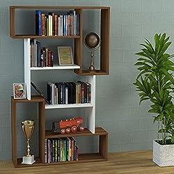 CORGIN Librería de salón - Blanco / Nogal - Librerías de oficina - Estantería o librería - Estantería de madera para la oficina o sala de estar ...