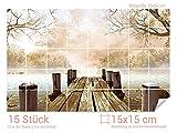 Graz Design 761681_15x15_50 Fliesenaufkleber See/Steg/Bäume für Kacheln | Wand-Deko für Bad/Küchen-Fliesen (Fliesenmaß: 15x15cm (BxH)//Bild: 75x50cm (BxH))