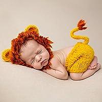 Ateid Disfraz Atrezzo de Fotografía Traje Para Bebé Recién, 0-12 Meses, León Amarillo