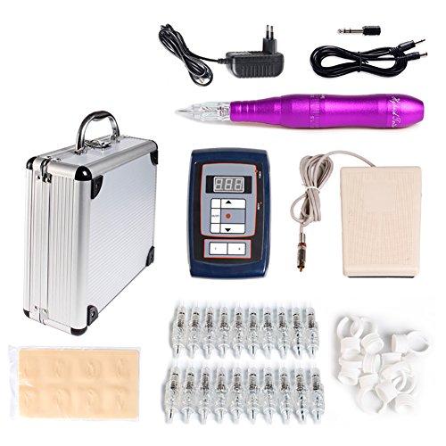 Komplettes Tattoo Maschine Kit Komplett Anfänger Tätowierung Set (Purple-Sets) - Permanent Tattoo Maschine Pen