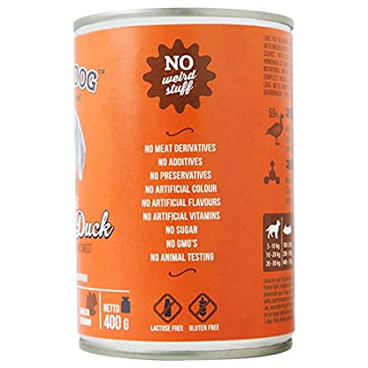 The Witty Dog 100% Organic Wet Dog Food, Complete Menu: Duck With Pumpkin, Tins 6x400 Gr. (Puppy, Adult, Senior Dogs) 2