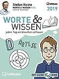 Stefan Heine: Worte & Wissen 2019 - Tagesabreißkalender, Rätselkalender, Logik und Wissen - 11,8 x 15,9 cm
