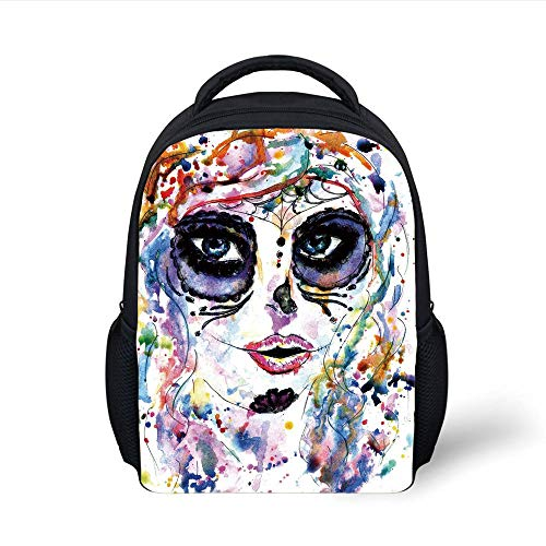 Kids School Backpack Sugar Skull Decor,Halloween Girl with Sugar Skull Makeup Watercolor Painting Style Creepy Decorative,Multicolor Plain Bookbag Travel Daypack