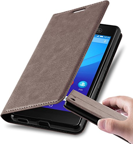 Cadorabo Hülle für Sony Xperia M5 - Hülle in Kaffee BRAUN - Handyhülle mit Magnetverschluss, Standfunktion & Kartenfach - Case Cover Schutzhülle Etui Tasche Book Klapp Style