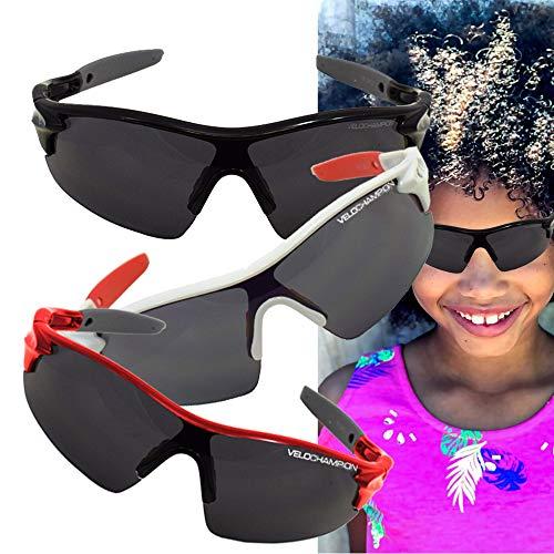 VeloChampion Kids Unisex Verano niño niña Junior Deportes Warp Ciclismo Moda Gafas de Sol Frescas...