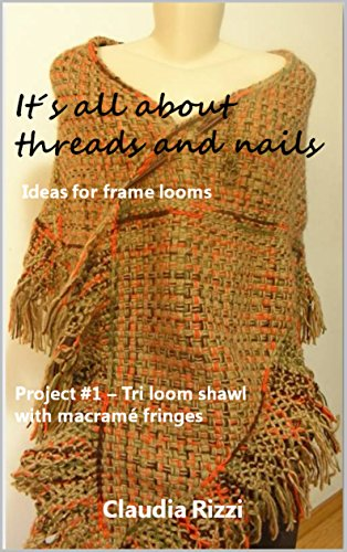 Weben Fringe (It´s all about threads and nails: ideas for frame looms: Project #1: Tri loom shawl with macramé fringes (English Edition))