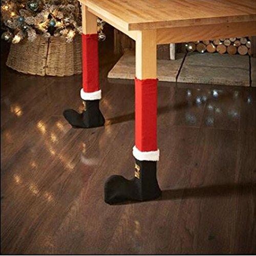 Kostüm Bein Für Lampe Eine - bescita 4Pcs Weihnachten Sessel Bein Fuß Cover Tischdekoration für Party Dinner Weihnachten