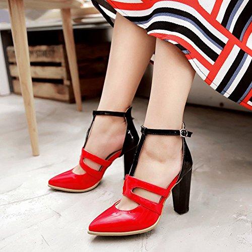 Mee Shoes Damen mehrfarbig chunky heels T-Strap Sandalen Schwarz