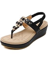 Damen Sommer Sandalen Dicke Unten Fashion Wild Klettverschluss Strand Römische Schuhe, Grün, 39