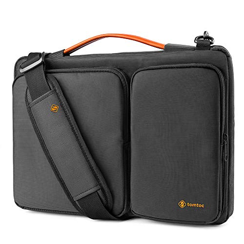 "tomtoc 14 Inch 360° Protective Laptop Shoulder Bag Compatible with MacBook Pro 15"" Touch Bar USB-C A1990 A1707, 14"" ThinkPad X1 Carbon, Handle & Accessory Pocket, Black"