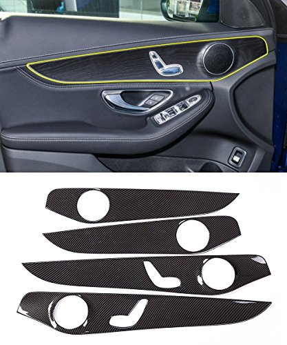 Preisvergleich Produktbild Carbon ABS Chrom Tür Dekoration Panel Zubehör Rahmen Cover Trim Aufkleber für C-Klasse W205 C180 2015-2018