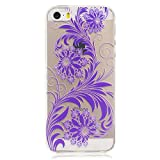 iphone 5 Covers, iphone 5s Case - iphone SE 5 5S Flower Case, Cozy Hut TPU Clear Soft Silicone Back Colorful Printed Flower Pattern Silicone Case Protective Cover Cell Phone Case for iphone SE 5 5S Bumper Case [Ultra Slim], Flexible Soft TPU [Drop Protection+Shock Absorption+Anti-Scratch] Protective Case Cover for iphone SE 5 5S - purple flower