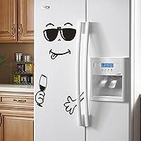 Sencillo Vida Bonita Pegatina Nevera Feliz Cara Delicioso Cocina Nevera Pared Refrigerador Pegatinas de Vinilo Art