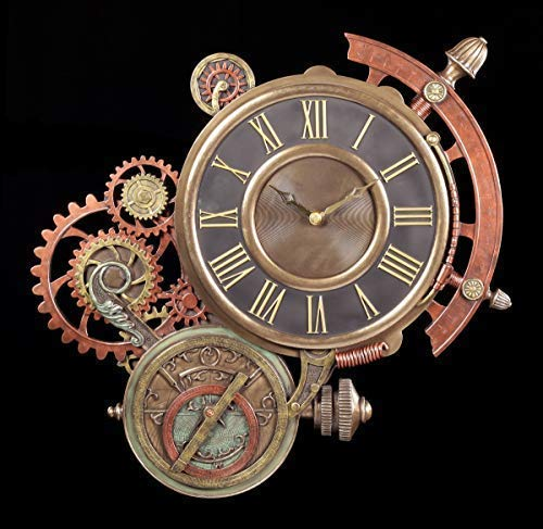 Unbekannt Fantasía Astronomische Steampunk Reloj de Pared Artículo Decorativo, Bronceada & de Color