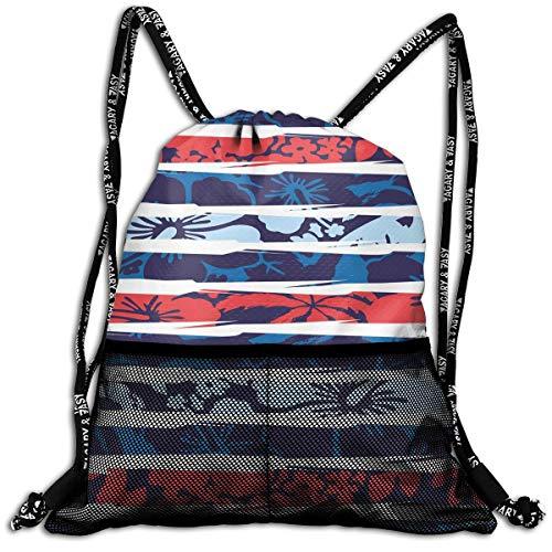 RAINNY Drawstring Backpacks Bags,Tropical Hibiscus Flower Beach Theme Vivid Color Scheme Floral Arrangement,5 Liter Capacity,Adjustable Hibiscus Tank