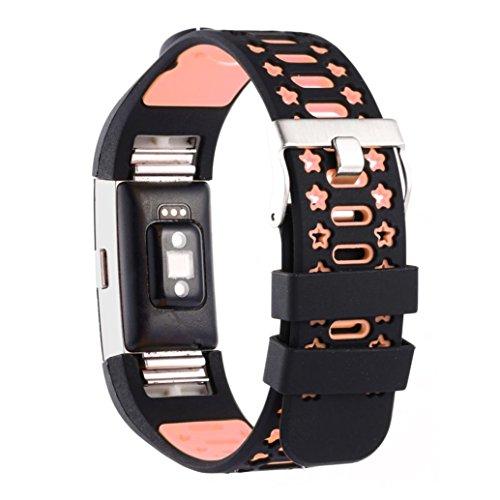 Preisvergleich Produktbild Sansee Mode Sport Neue Silikon Armband Armband Band für Fitbit Charge 2 / Silikon Armband Strap Band (Rosa)