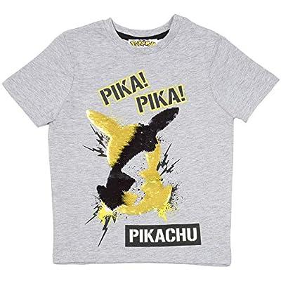 Pokèmon Camiseta Lentejuelas Reversibles para Niños | Top De Algodón Gris De Pikachu En Lentejuelas Negras Y Doradas | Idea Regalo Niños Y Adolescentes