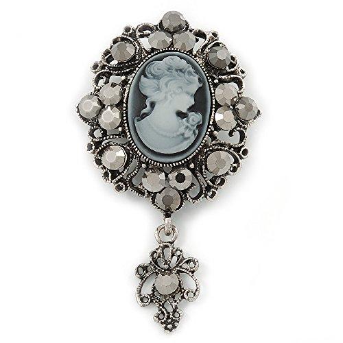 Vintage inspiriert Hämatit Kristall Cameo mit Charme Brosche in Antik Silber tone-65mm L
