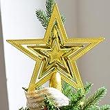Dancepandas Weihnachtsbaum-Spitze Baumspitze Stern Weihnachtsbaum Kunststoff Deko (Gold)