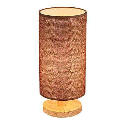 HALORI Tischleuchte Holz Schlafzimmer Nachttisch linght LED Hanf Gaze Lampenschirm, zylindrische Design Mini Schreibtisch Lampe/E27 (Farbe : Braun) -