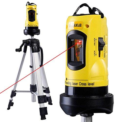 COSTWAY Rotationslaser Baulaser Kreuzlinienlaser Kreuzlaser Querlinienlaser Laser inkl. Laser-Schutzbrille und Aluminium-Stativ