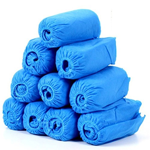 BESTOMZ 100pcs Vliesstoff Einweg Schuhe umfasst elastische Band atmungsaktive staubdicht verdickt, Anti-Rutsch Überschuhe (blau)